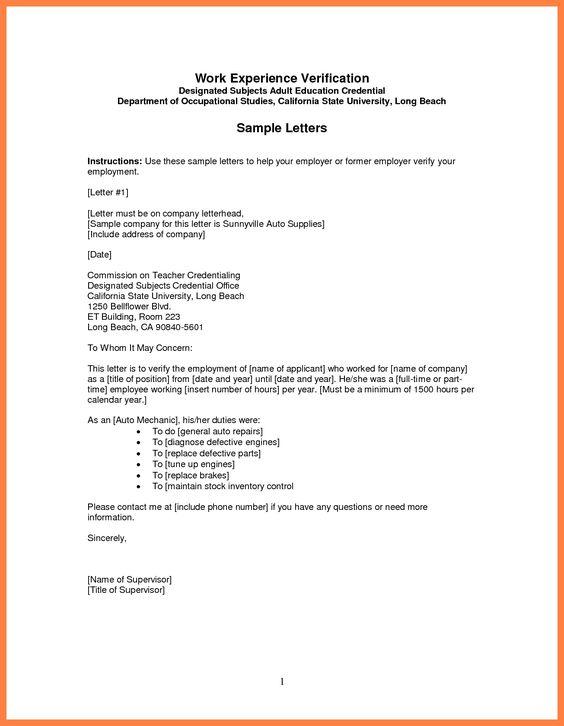 sample employment verification letter best business template - previous employment verification letter
