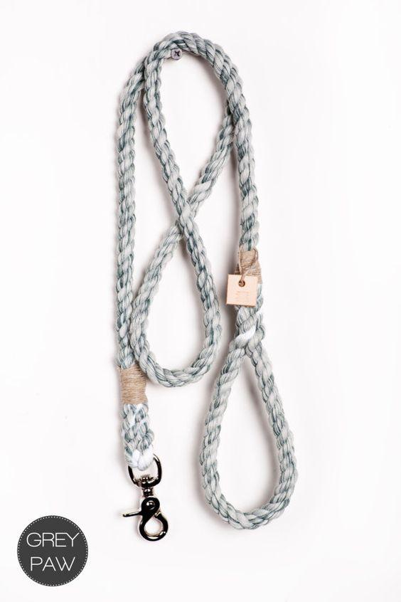 Rope dog lead pet supplies dog collar dog leash by GreyPawDesign, $42.00