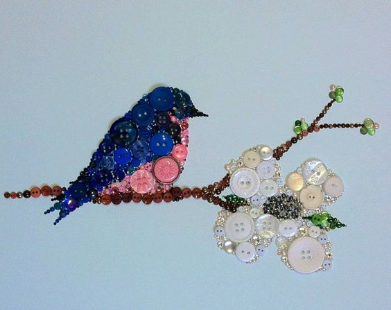 Custom Button Art Button Bluebird Art Button by Belle Papier
