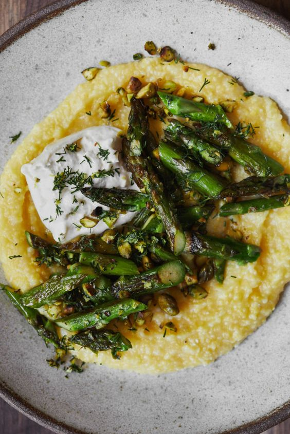 Asparagus Polenta with Dill-Pistachios and Burrata