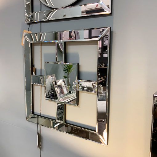 Madison White Silver Mirrored Geo Mirror Wall Art Home Decor Picture Picture Perfect Home Mirror Wall Art Mirror Wall Glam Wall Decor