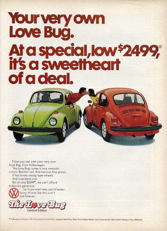 1974 VOLKSWAGEN Love Bug Car Photo Ad Sweetheart by StillsofTime