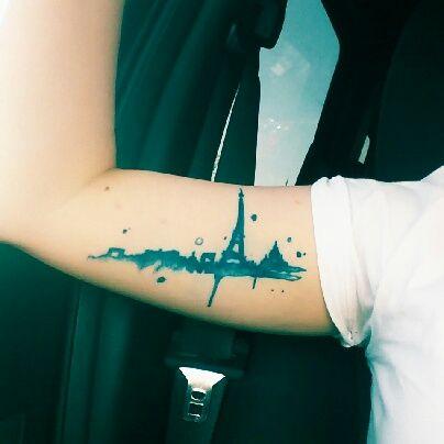 My paris skyline tattoo get tattooed pinterest for Las vegas skyline tattoo