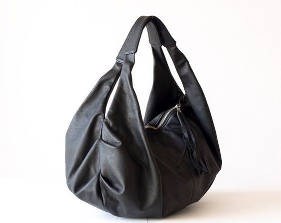 Black leather hobo tote