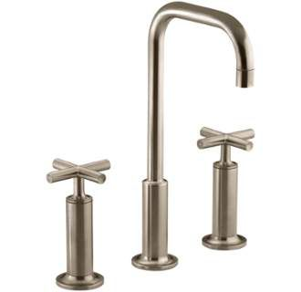 Brushed Bronze Purist Widespread Bathroom Faucet with Ultra-Glide Valve Technology - Free Metal Pop-Up Drain Assembly with purchase