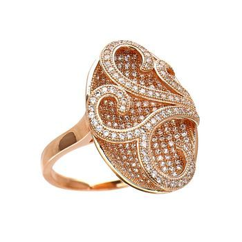 Dizeo 18 Karat Rose Gold over Sterling Silver with Simulated White Diamond Oval…