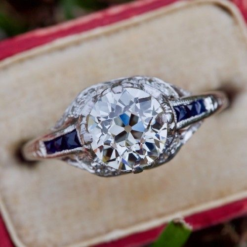1920 S Antique Diamond Engagement Ring W Sapphire Accents Platinum Antique Diamond Engagement Rings Vintage Engagement Rings Wedding Rings Vintage