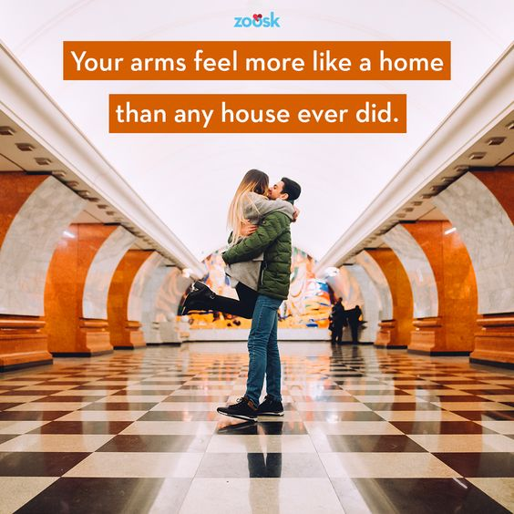 Love quotes for her: Where you feel safe and loved, that's home. Your arms feel more like a home than any house ever did. ⠀ #romantic #love #quote #lovequotes #homeiswheretheheartis #relationshipgoals