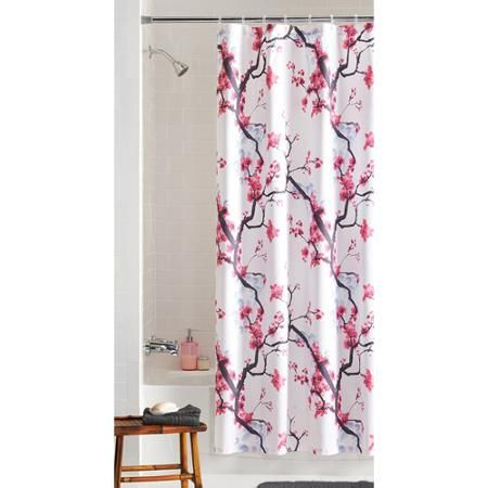 Shower Curtains cherry blossom shower curtains : Mainstays Pink Blossom Fabric Shower Curtain | Cherries, Walmart ...