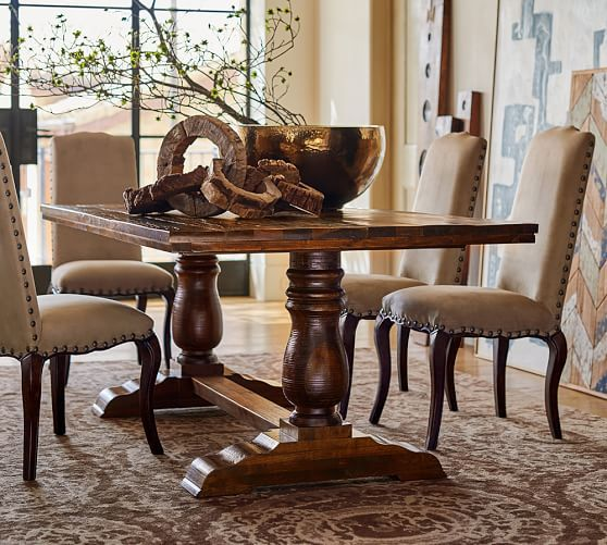 Pottery Barn Wood Furniture Quality: Bowry Reclaimed Wood Fixed Dining Table & Copper Bowl