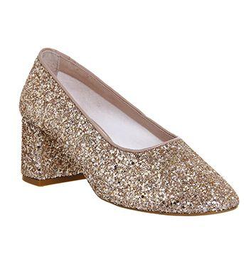 Office Mia Ballet Block Heels Rose Gold Glitter - Mid Heels