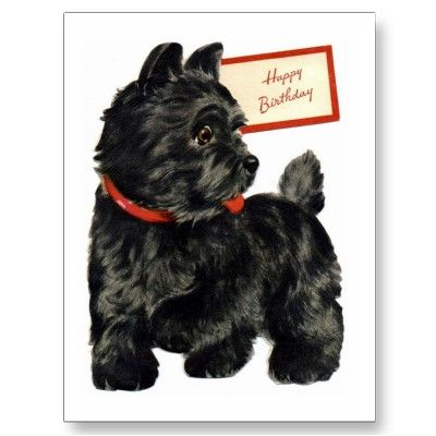 Adorable Scottie Dog - Retro Happy Birthday Card  by Retro Dazes.  Scottish Terrier art