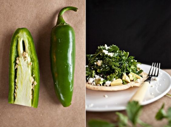Jalapeno and lime marinated kale tostada - thanks Anna