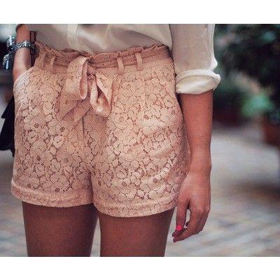 lace shorts + white shirt.