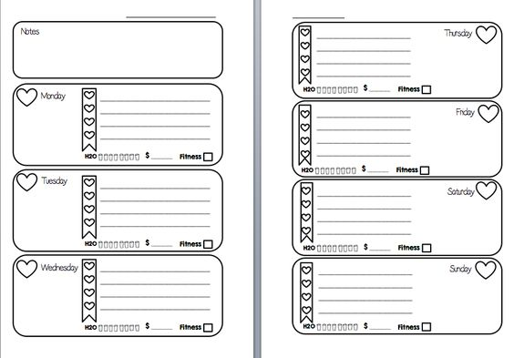 Free Week on Two Pages Filofax Inserts Printable (Hearts Checklist With Tracker) | MsWenduhh Planners & Printables