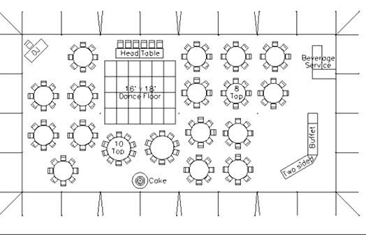 Sample Layout For A Reception With 150 Guests A 40 X 80 Tent With Dinner Seating A Buffet A Dance In 2020 Wedding Reception Layout Reception Layout Wedding Tent Layout