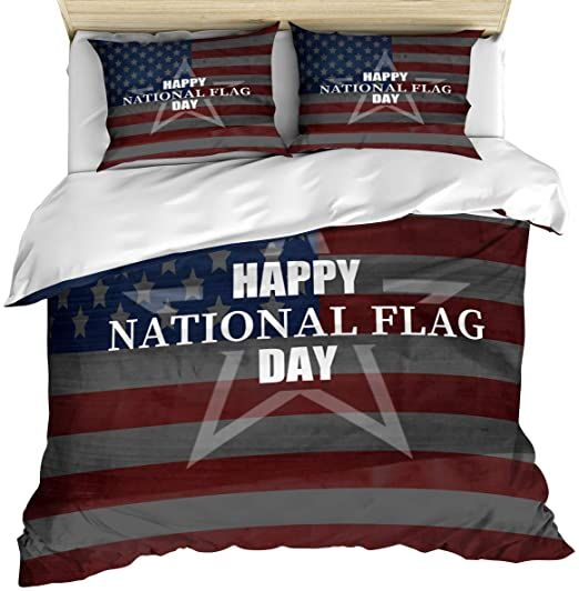 3 Piece Bedding Set Comforter Quilt Cover Set King Size Happy National Flag Day Star Duvet Cover Set With 2 Pill In 2020 Quilt Cover Sets Duvet Cover Sets Quilt Cover