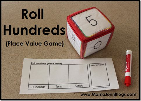 FREE Printable Place Value Game: Roll Hundreds