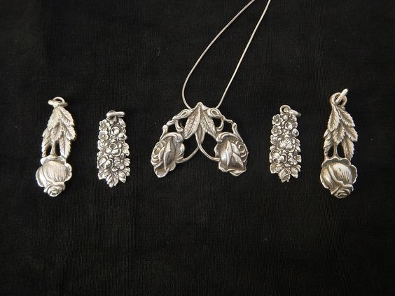 Jewelry made from sterling silver ware.