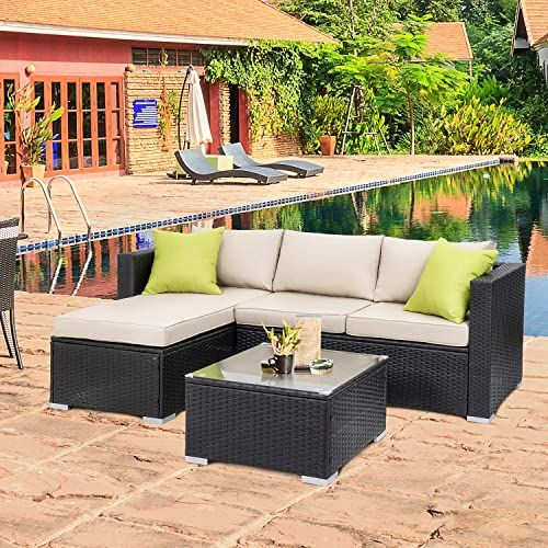 Amazing Offer On Walsunny Outdoor Furniture Patio Sets Low Back All Weather Small Rattan Sectional Sofa Tea Table Washable Couch Cushions Upgrade Wicker Black In 2020 Outdoor Furniture Decor Rattan Outdoor Furniture Wicker Patio Furniture
