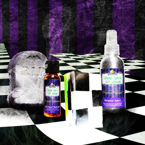 THIRD TIMES THE CHARM Entire Collection $22.80 Save 10% when you purchase the entire collection together! *limited stock, may sell out*  ENTIRE collection contains 4 full sized products:  PRINCE VALIUM ROOM SPRAY,  IT'S SHOWTIME Bar Soap,  HERE LIES... Bath Bomb,  RECENTLY DECEASED OCD Hand Sanitizer: