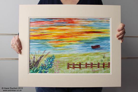 Sunset Seascape Original Painting Art In Wax Supplied Double Mounted £60.00