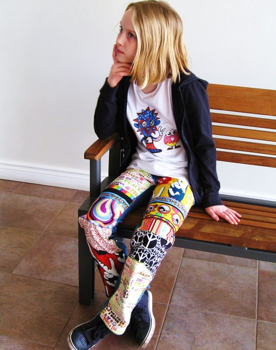 Peace and Love jeans by 4getmeknot. Moshi Monster hand-painted T-shirt also by 4getmeknot.