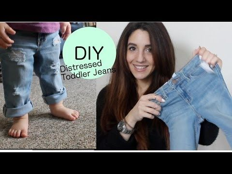 DIY Distressed Boyfriend Jeans (Toddler Version) - YouTube