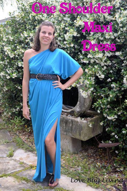 DIY - One Shoulder Maxi Dress - super easy, just 2 seams