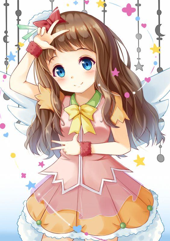 1girl blue_eyes brown_hair double_v dress kyoukai_no_kanata li_yang long_hair shindou_ai v wings