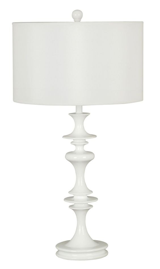 Claiborne Table Lamp - An exaggerated turn profile and the Glossy White finish of Claiborne add a modern touch to this classic French Country motif. A timeless crisp White drum shade makes this lamp grouping versatile and always on trend.