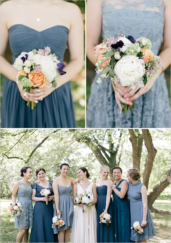mismatched blue bridesmaids @weddingchicks