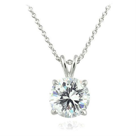 Sterling Silver 2-Carat Round Solitaire Necklace with Zirconia $55 Value!