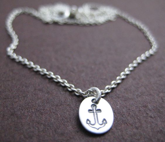 Anchors Aweigh. Sterling Silver hand stamped anchor necklace.. $18.00, via Etsy.