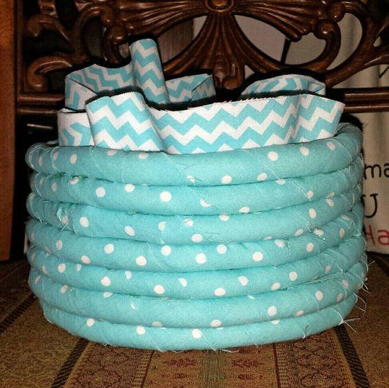 Annabelle Blue Polka Dot Basket with Liner