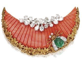 Emerald, Diamond, and Coral Brooch by David Webb: