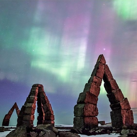 Aurora borealis over the Arctic Henge in #Raufarhöfn #Iceland #HeathrowGatwickCars.com