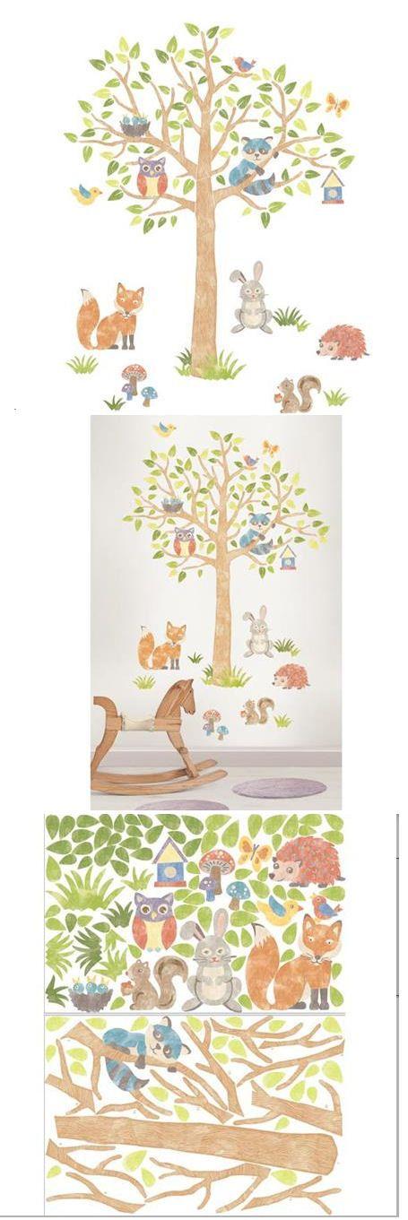 Muursticker met boom dieren uit het bos babykamer of kinderkamer