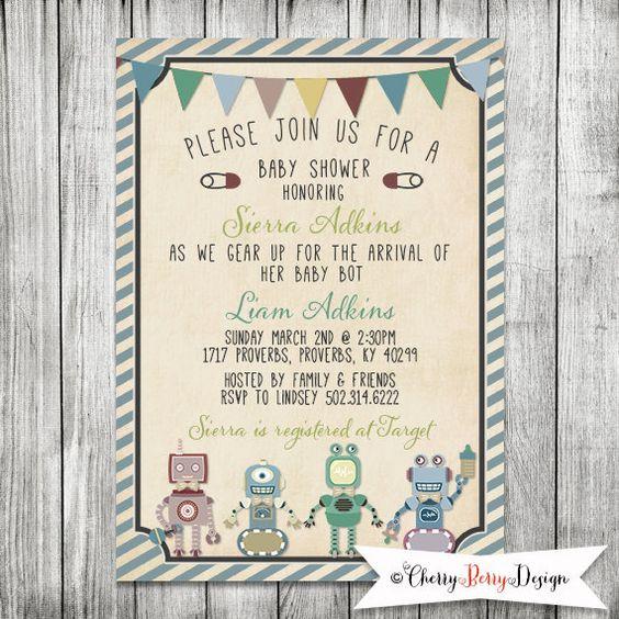 Baby Robot Baby Shower Invite   Baby Bot by CherryBerryDesign, $10.00