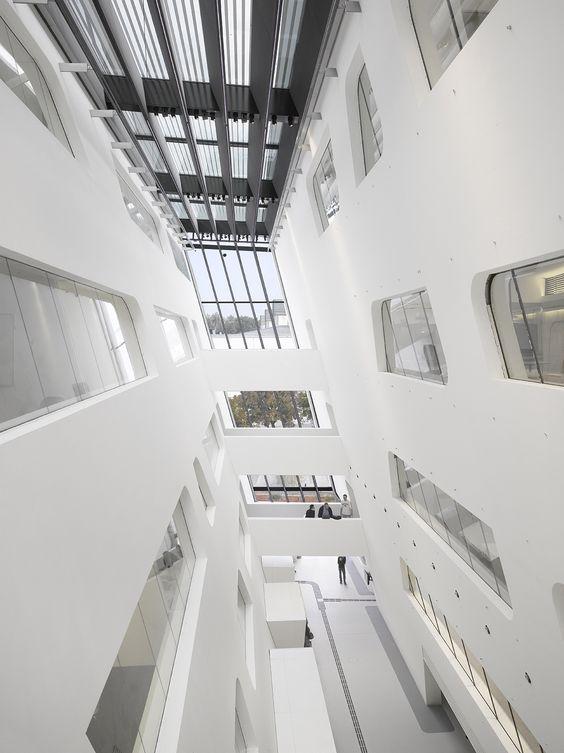 Biblioteca y Centro Universitario de economía Viena de aprendizaje / Zaha Hadid Architects. © Roland Halbe