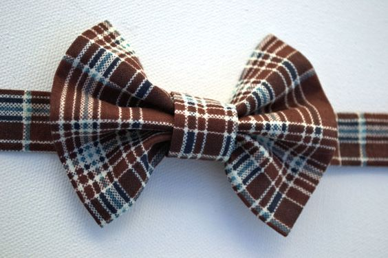 Chocolate Brown and Blue Plaid Bow Tie by marissaLboutique on Etsy, $9.00