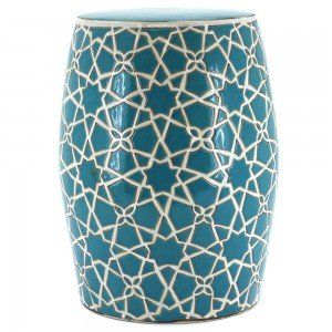 Hand Painted Turquoise Zelig Ceramic Stool, http://www.templeandwebster.com.au/