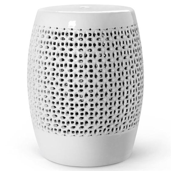 Sami Global Bazaar White Porcelain Lace Garden Stool | Kathy Kuo Home