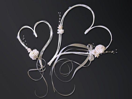 2 coeurs rotin avec perles fleurs ivoires mariage pas cher