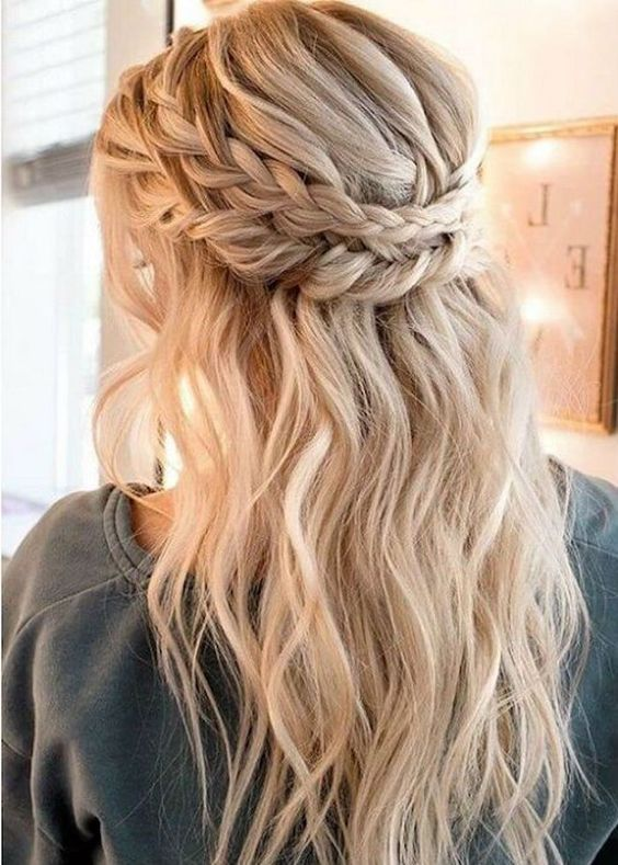 A Boho Wedding Half Updo With A Messy Voluminous Top A Double Braided Halo A In 2020 Braided Hairstyles For Wedding Braids For Long Hair Prom Hairstyles For Long Hair