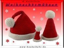 Weihnachtsmützen 3 Größen für Amigurumis -- Häkelanleitung | Kostenlos