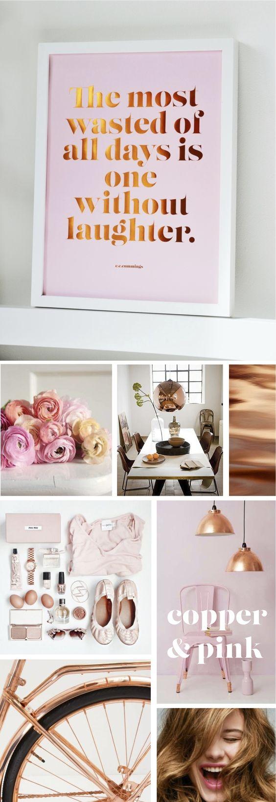 NEW IN THE SHOP - Laughter Copper Foil Poster - £22.00 copper, pink, copper foil