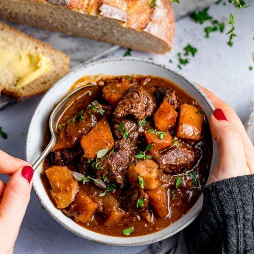 Scottish Beef Stew Cooked In The Oven Or Crockpot Perfect For Burns Night Burnsnight Scottish Slowcook In 2020 Stewing Steak Recipes Scottish Recipes Uk Recipes