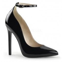 Pleaser Shoes Sexy-23 Black Patent Stiletto Heel Ankle Strap Pointed Toe Court Shoes