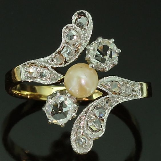 Antique Diamond Pearl Engagement Ring by adinantiquejewellery, $3050.00